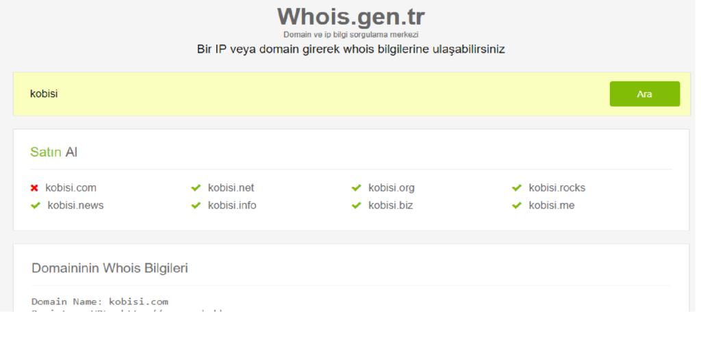 kobisi domain sorgulama